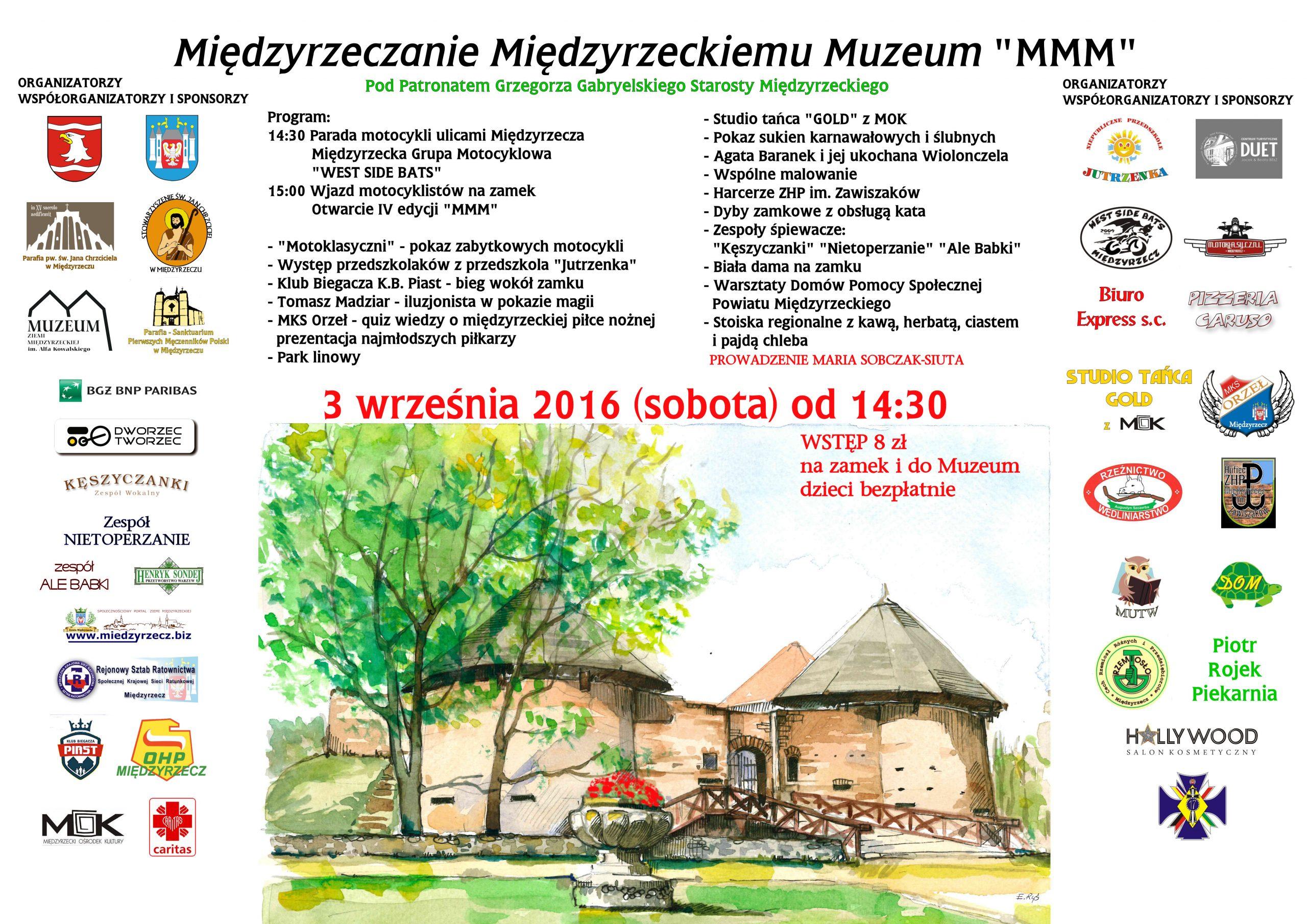 """3 września 2016 r. zapraszamy do Międzyrzecza na imprezę pn. Międzyrzeczanie Międzyrzeckiemu Muzeum """"MMM"""""""