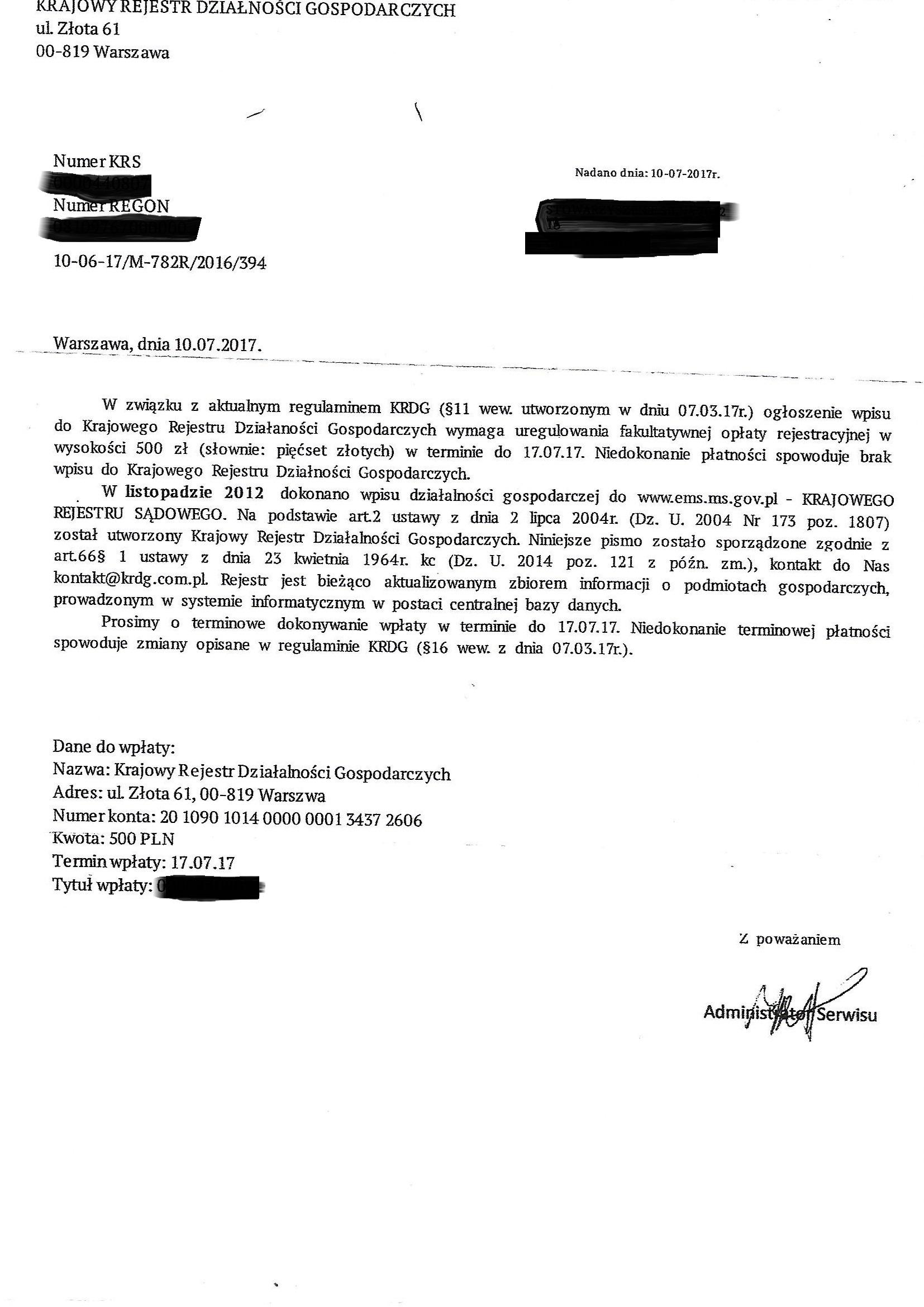 Uwaga Stowarzyszenia i Fundacje Regionu Obra – Warta